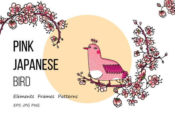 Print on Demand: Pink Japanese Bird - Floral Set Graphic Objects By Zooza Art