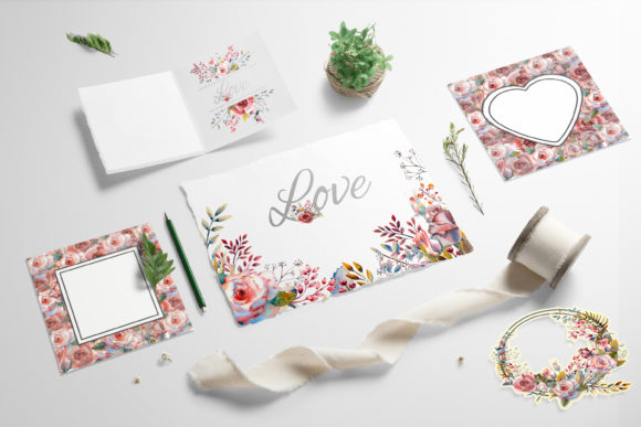 Print on Demand: Pink Rose Watercolor Set Graphic Illustrations By Natika_art