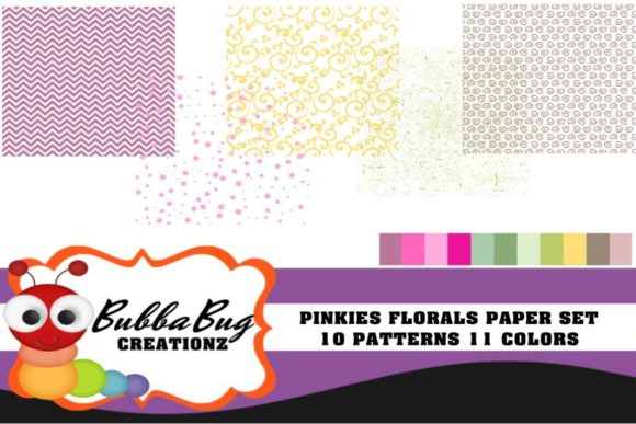 Pinkies Florals Paper Set Graphic Patterns By BUBBABUG
