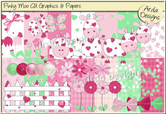 Print on Demand: Pinky Moo CU Grraphics & Papers Graphic Illustrations By Arda Designs