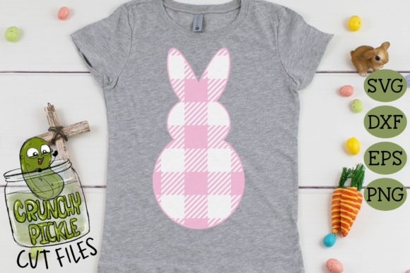 Plaid & Grunge Spring Easter Bunny 1 Graphic Item