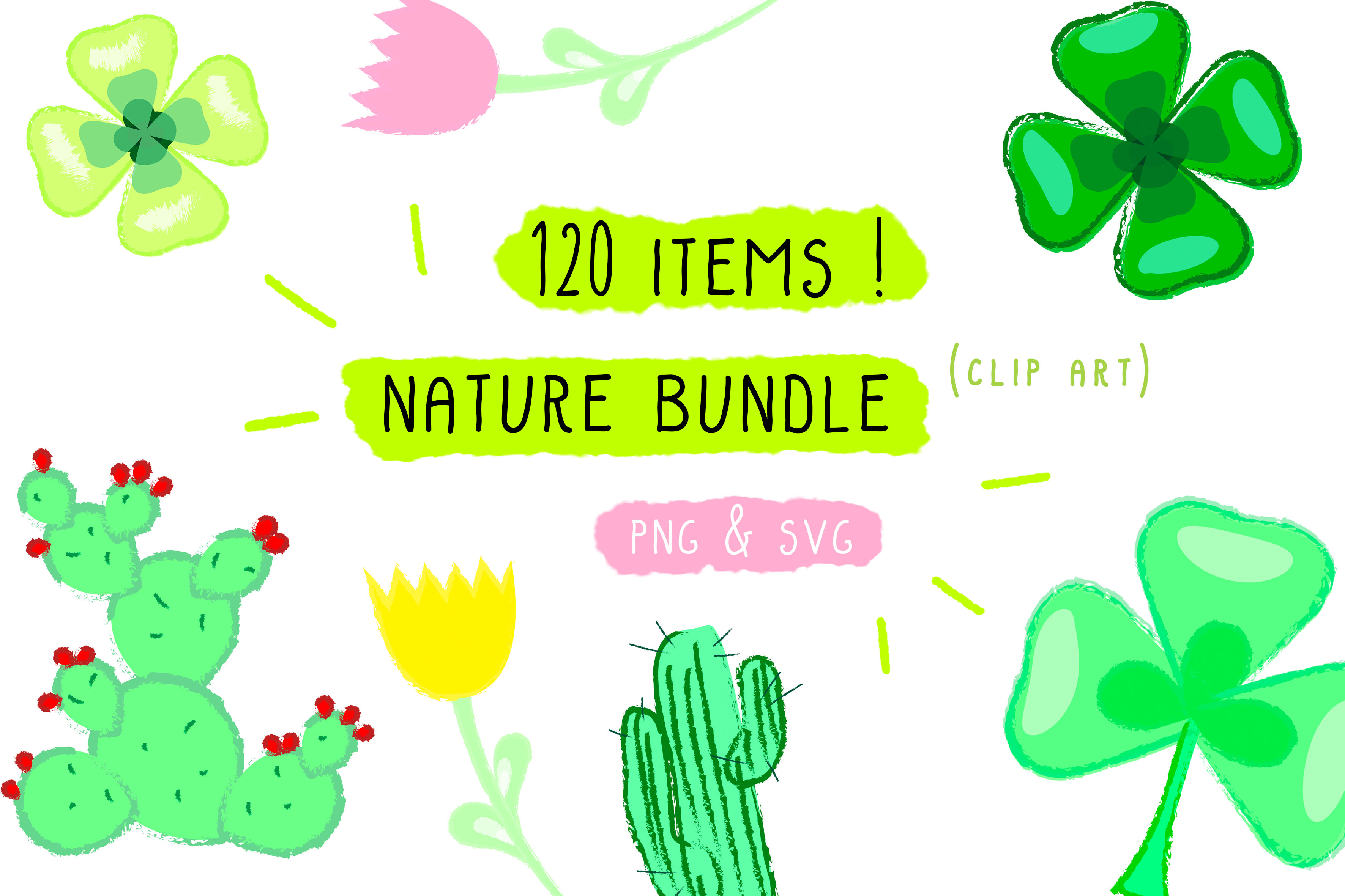 Download Free Plant Flowers Cactus Nature Bundle Graphic By Inkclouddesign for Cricut Explore, Silhouette and other cutting machines.