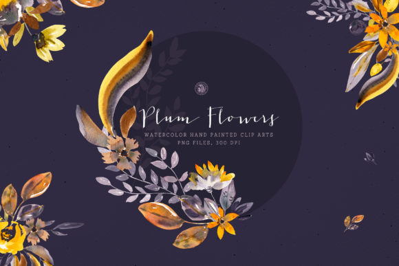 Plum Watercolor Flowers Graphic Illustrations By webvilla