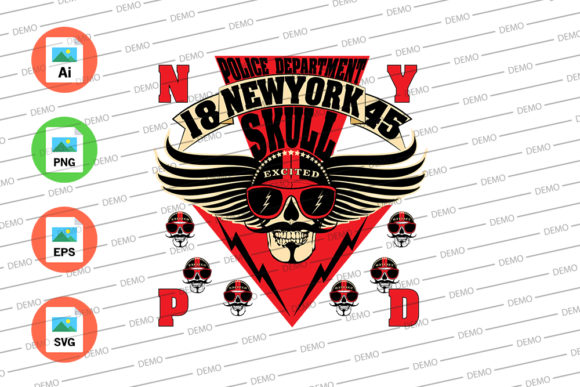 Police Department Skull New York Graphic Illustrations By Skull and Rose - Image 3