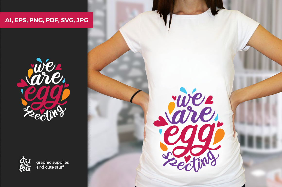 Download Free Pregnancy Announcement Svg Cut Files We Are Eggspecting Graphic for Cricut Explore, Silhouette and other cutting machines.