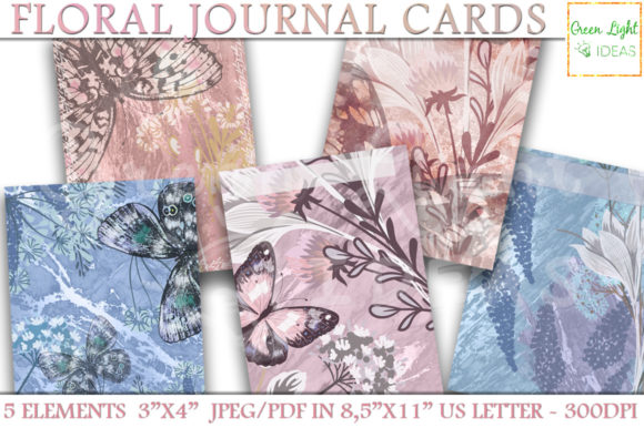 Printable Floral Journal Cards Graphic Objects By GreenLightIdeas