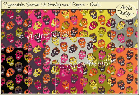Print on Demand: Psychedelic Festival CU Papers - Skulls Graphic Patterns By Arda Designs