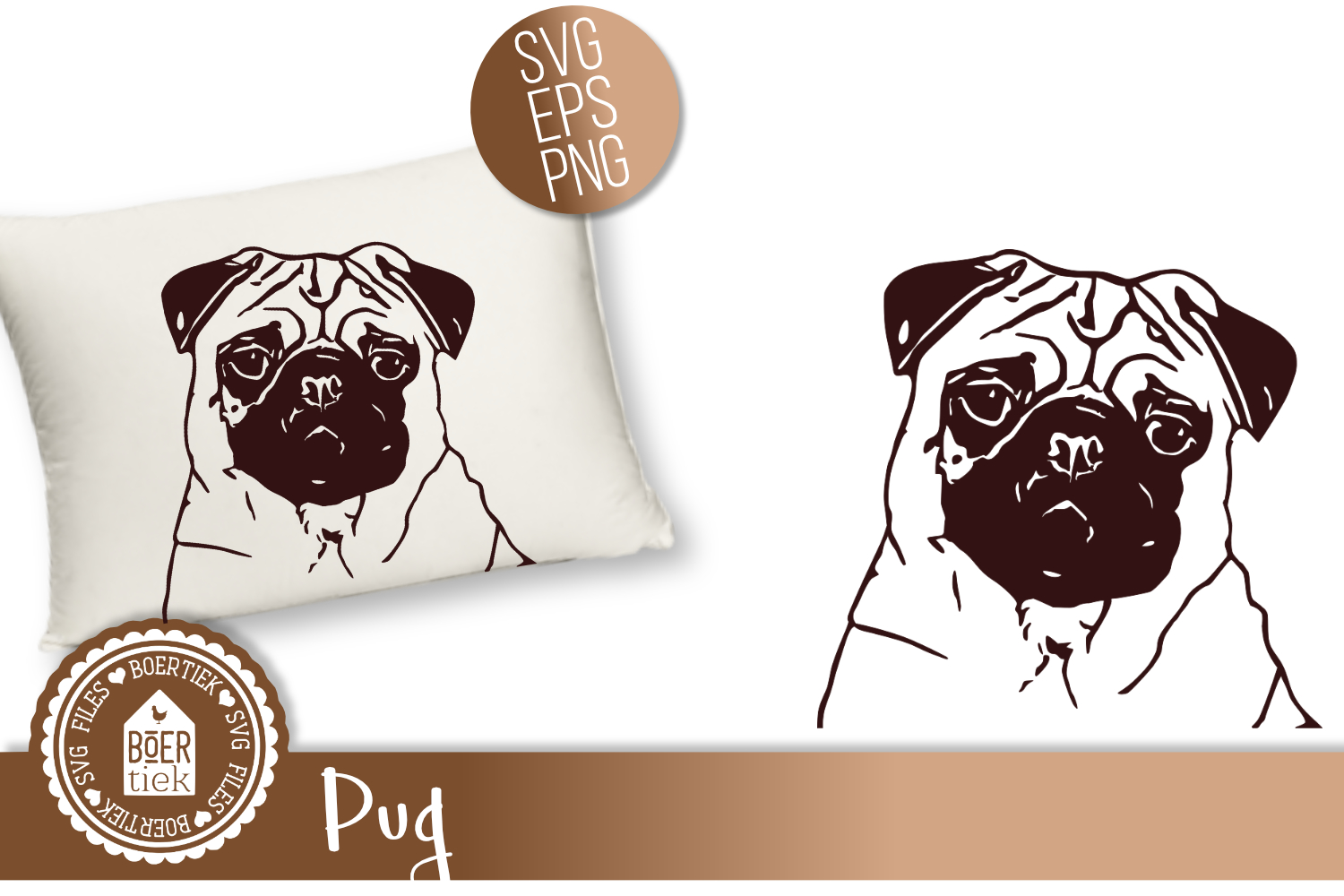 Download Free Pug Graphic By Boertiek Creative Fabrica for Cricut Explore, Silhouette and other cutting machines.