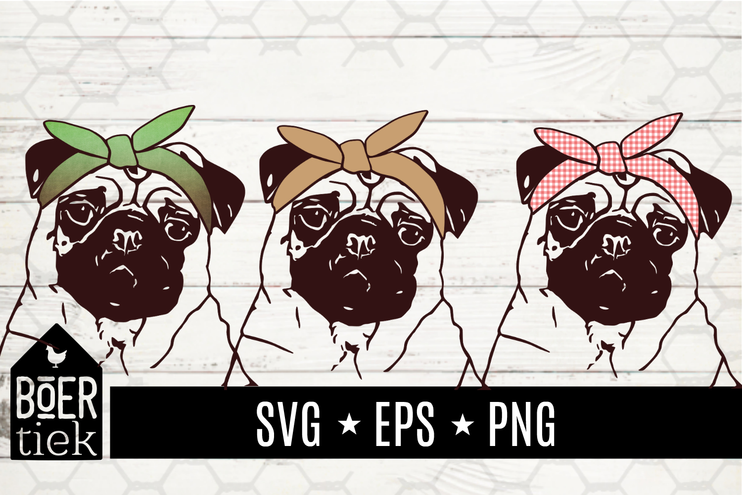 Download Free Pug With Hairbandana Svg Cutting File Graphic By Boertiek for Cricut Explore, Silhouette and other cutting machines.