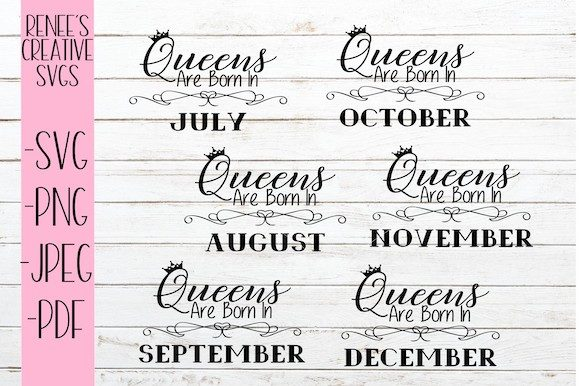 Print on Demand: Queens Are Born in July-December Bundle Graphic Crafts By ReneesCreativeSVGs