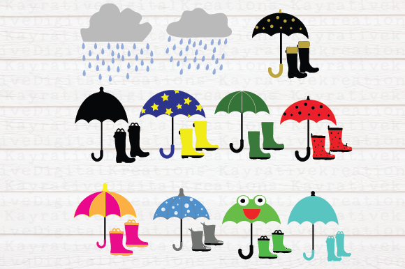 Download Free Rain Boots Umbrellas Svg Rain Graphic By Kayla Griffin Creative Fabrica for Cricut Explore, Silhouette and other cutting machines.