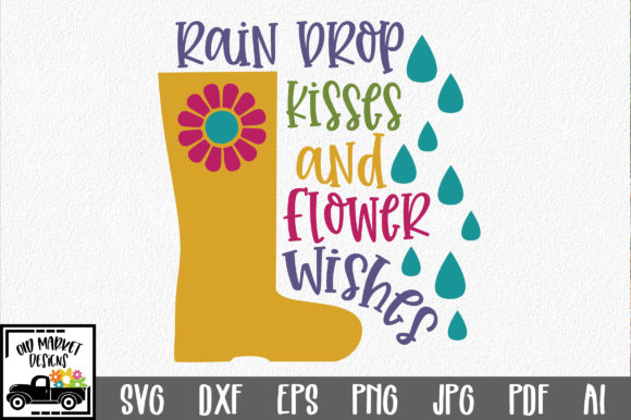 Download Free Raindrop Kisses And Flower Wishes Svg Cut File Graphic By for Cricut Explore, Silhouette and other cutting machines.