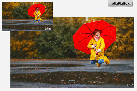 Print on Demand: Realistic Rain Photo Overlays Graphic Layer Styles By MixPixBox - Image 4