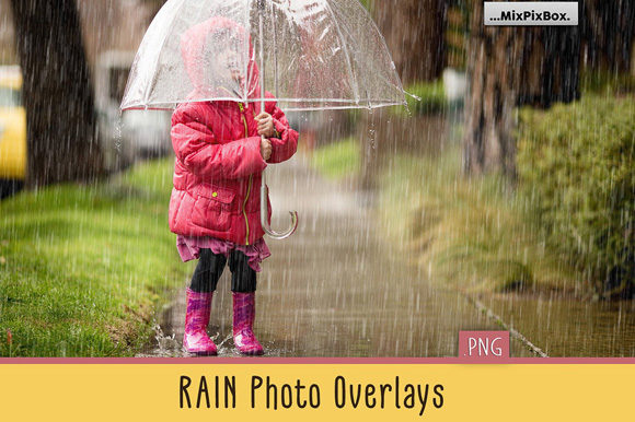 Print on Demand: Realistic Rain Photo Overlays Graphic Layer Styles By MixPixBox
