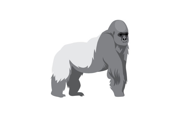 Realistic Silver-back Gorilla Animals Craft Cut File By Creative Fabrica Crafts - Image 1