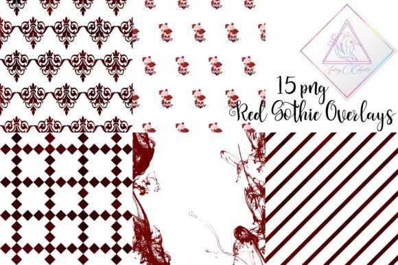 Print on Demand: Red Gothic Overlay Clipart Graphic Illustrations By fantasycliparts