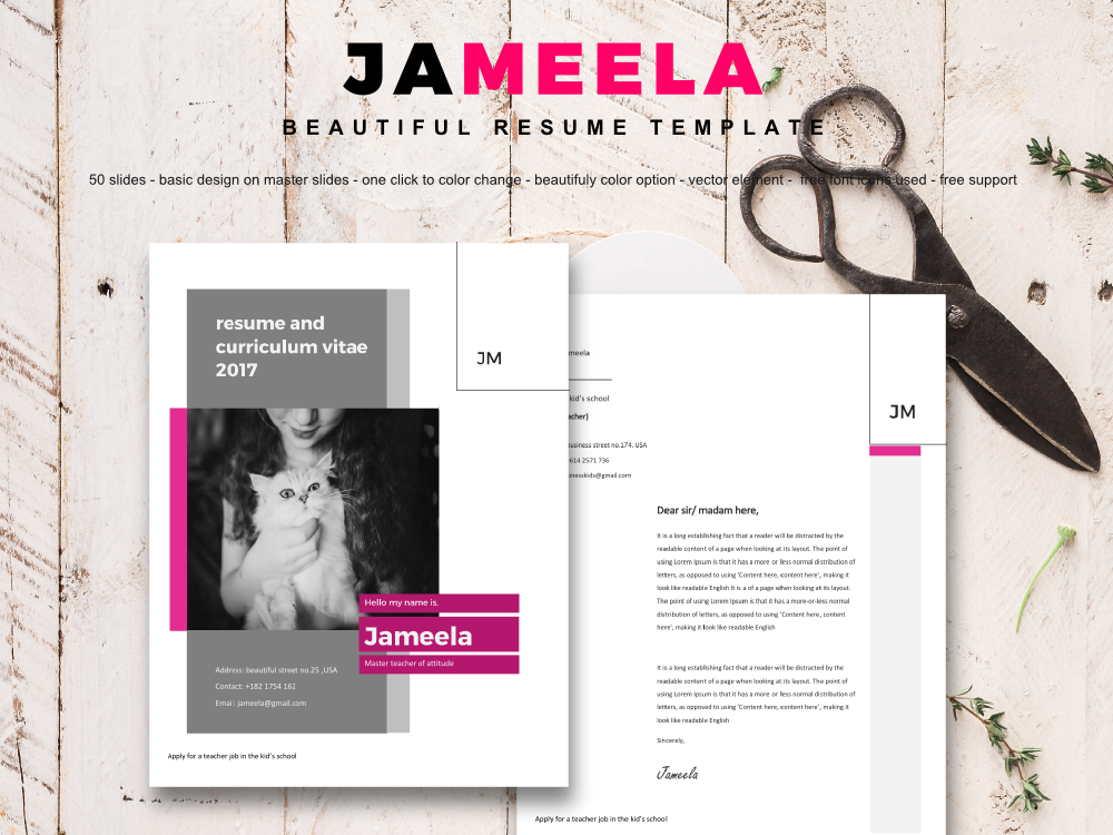 Download Free Resume And Cv Word Design Template Graphic By Rivatxfz for Cricut Explore, Silhouette and other cutting machines.