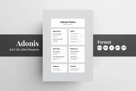 Resume/CV Template - Adonis Graphic Print Templates By Shemul