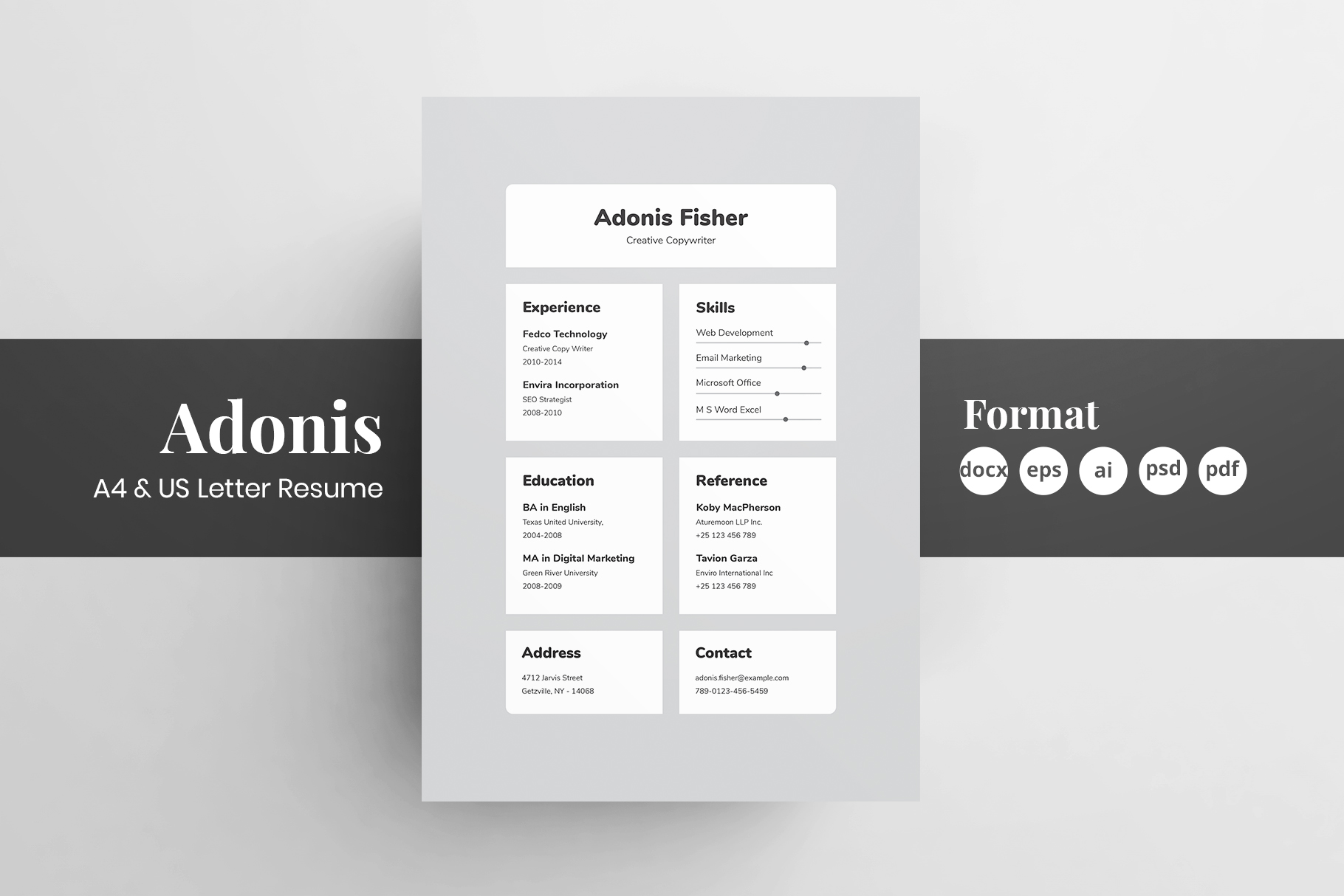 Download Free Resume Cv Template Adonis Graphic By Shemul Creative Fabrica for Cricut Explore, Silhouette and other cutting machines.