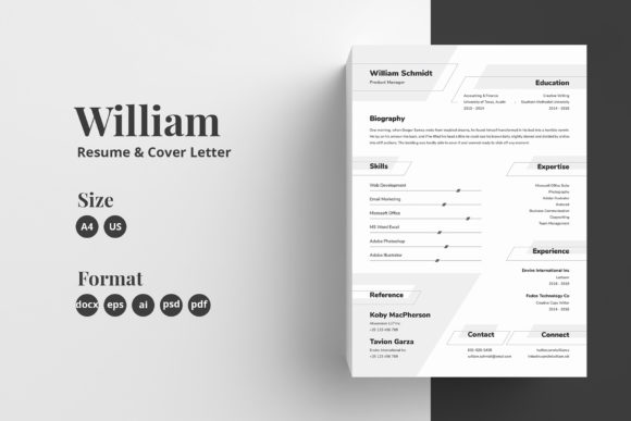 Resume/CV Template - William Graphic Print Templates By Shemul