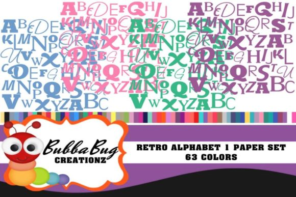 Retro Alphabet Paper Set Graphic Patterns By BUBBABUG