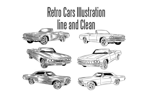 Download Free Retro Cars Set 2 With Sketch Style Line And Clean Graphic By for Cricut Explore, Silhouette and other cutting machines.
