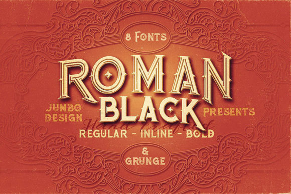 Roman Black Family Serif Font By JumboDesign