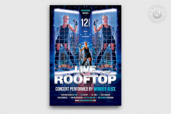 Rooftop Live Flyer Template Graphic By ThatsDesignStore