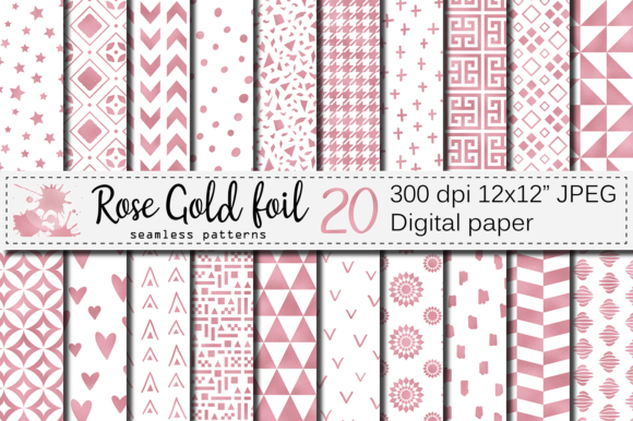 Download Free Rose Gold Foil Seamless Geometric Patterns Graphic By Vr Digital for Cricut Explore, Silhouette and other cutting machines.