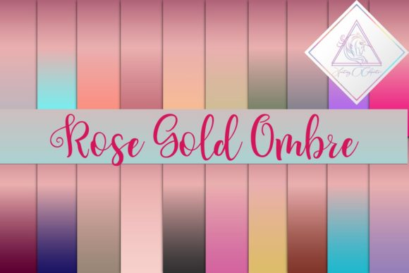 Print on Demand: Rose Gold Ombre Graphic Textures By fantasycliparts