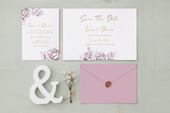 Print on Demand: Rose Gold Wedding Invitation Graphic Graphic Templates By Creative Paper