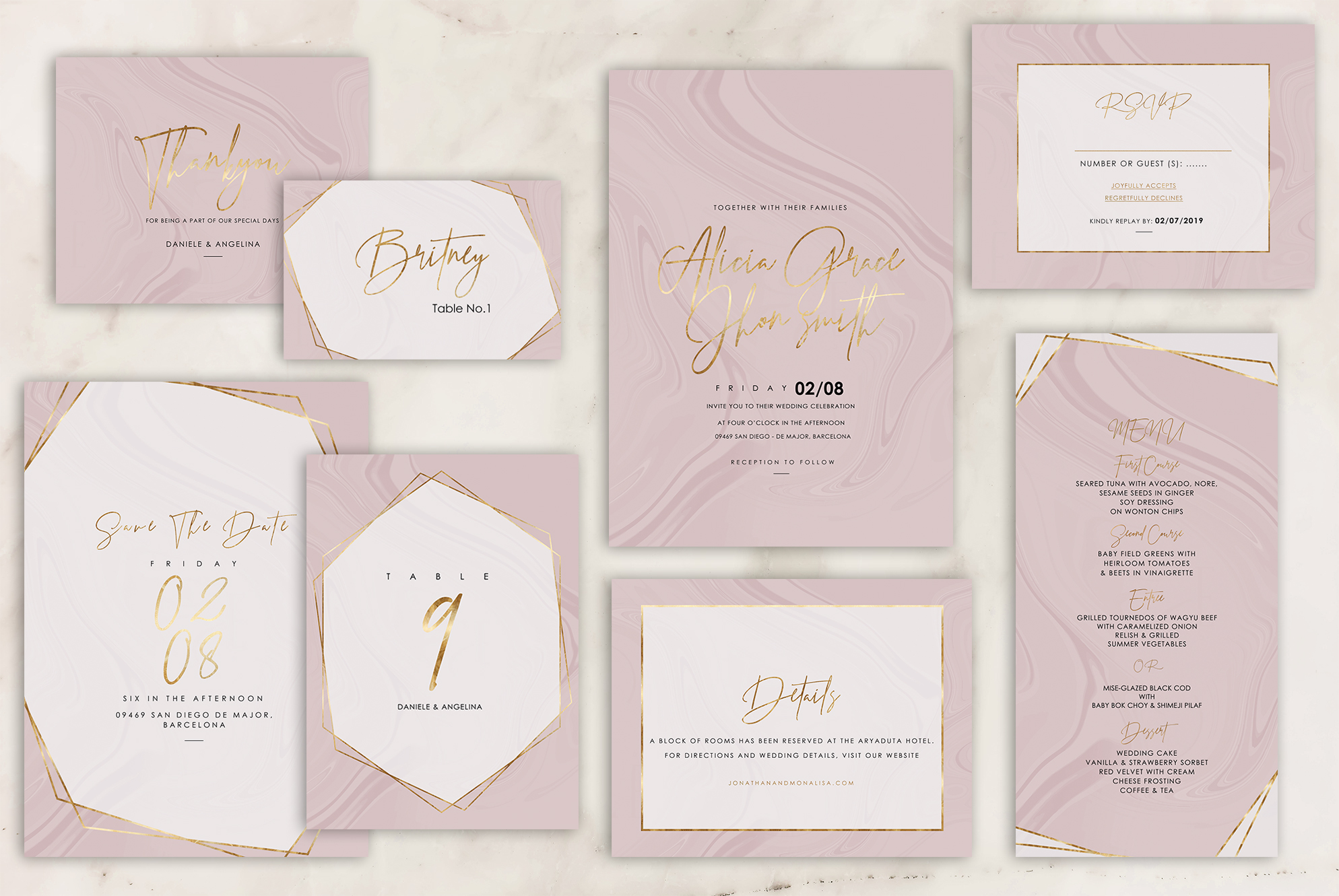 Download Free Rose Marble Wedding Invitation Graphic By Creative Paper for Cricut Explore, Silhouette and other cutting machines.