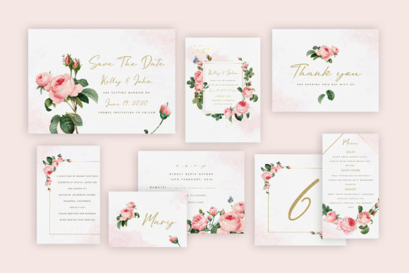 Rose Wedding Invitation Suite Graphic By artisssticcc