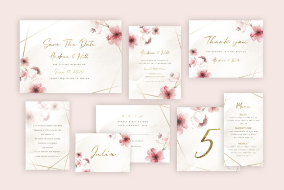 Print on Demand: Rose Wedding Invitation Suite Graphic Graphic Templates By Creative Paper
