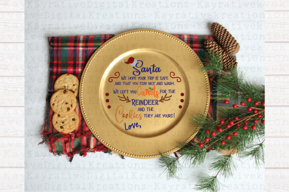 Download Free Santa Cookie Plate Reindeer Plate Svg Christmas Svg Graphic for Cricut Explore, Silhouette and other cutting machines.