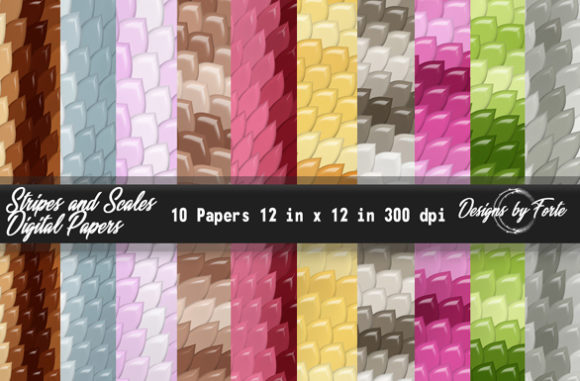 Print on Demand: Scales & Stripes Digital Papers Graphic Patterns By Heidi Vargas-Smith