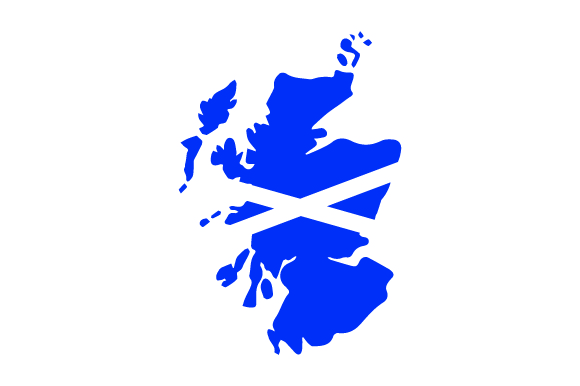 Scotland Country Outline With Flag Fill Svg Cut File By