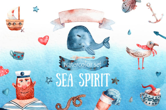 Download Free Sea Spirit Watercolor Clip Art Set Graphic By Mashamashastu for Cricut Explore, Silhouette and other cutting machines.