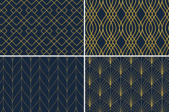 Download Free Seamless Art Deco Patterns Gold Navy Blue Graphic By for Cricut Explore, Silhouette and other cutting machines.