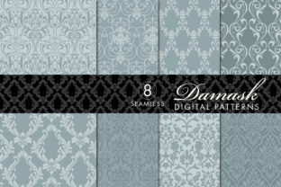 Download Free Seamless Damask Patterns Light Dark Gray Blue Graphic By for Cricut Explore, Silhouette and other cutting machines.