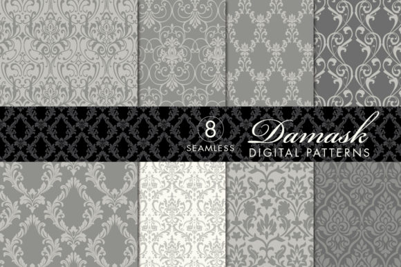 Seamless Damask Patterns Light Dark Gray Graphic By
