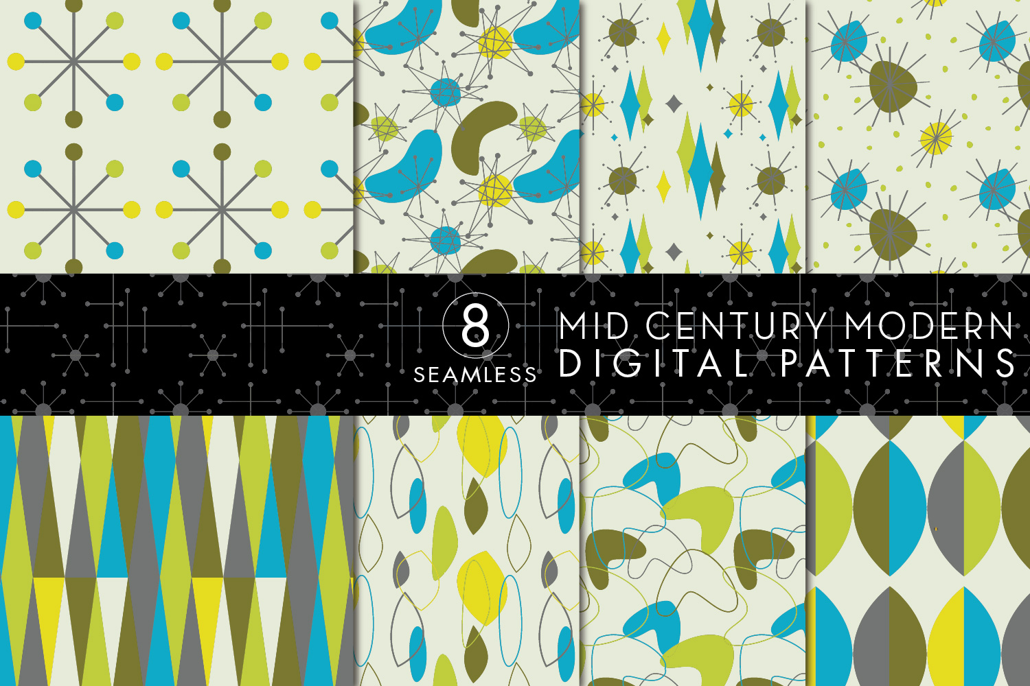Download Free Seamless Mid Century Modern Patterns Graphic By Eyestigmatic for Cricut Explore, Silhouette and other cutting machines.