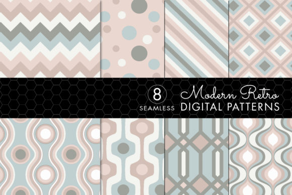 Download Free Seamless Retro Modern Patterns Pink Ivory Green Graphic By for Cricut Explore, Silhouette and other cutting machines.