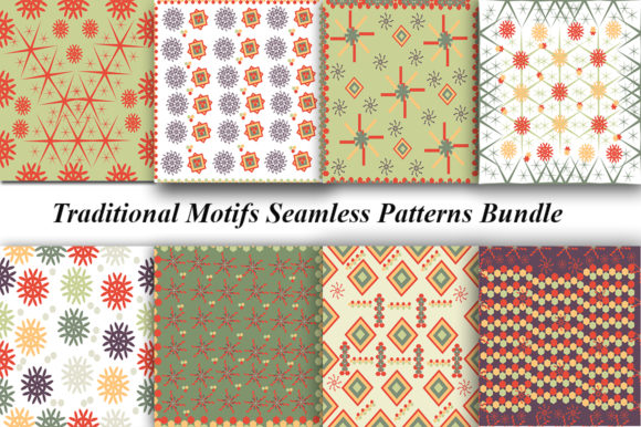 Set Seamless Vintage Patterns Graphic By Kakva Creative Fabrica