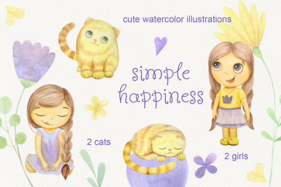 Print on Demand: Set of Watercolor Flowers, Leaves, Cat and Girl Graphic Illustrations By Natalia Arkusha - Image 2