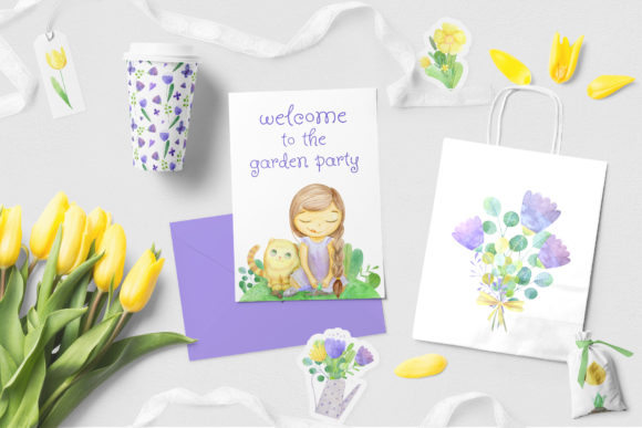 Print on Demand: Set of Watercolor Flowers, Leaves, Cat and Girl Graphic Illustrations By Natalia Arkusha - Image 11