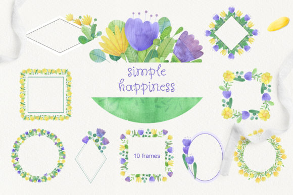 Print on Demand: Set of Watercolor Flowers, Leaves, Cat and Girl Graphic Illustrations By Natalia Arkusha - Image 8