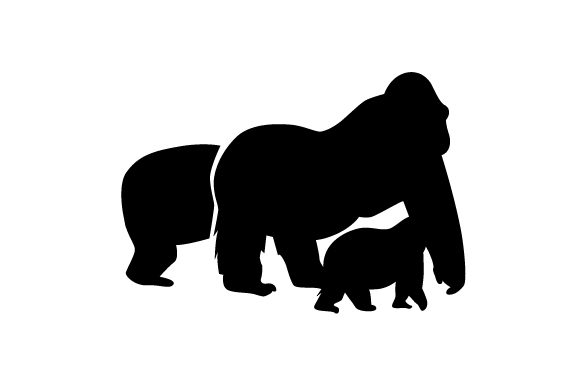 Download Free Silhouette Of A Family Of Gorillas Svg Cut File By Creative Fabrica Crafts Creative Fabrica for Cricut Explore, Silhouette and other cutting machines.
