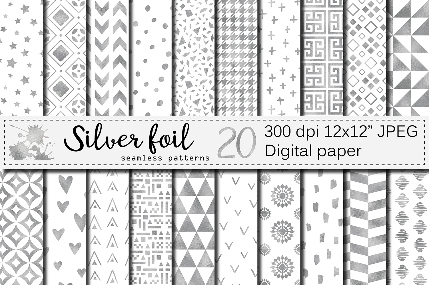 Silver Foil Seamless Geometric Patterns Graphic By Vr Digital