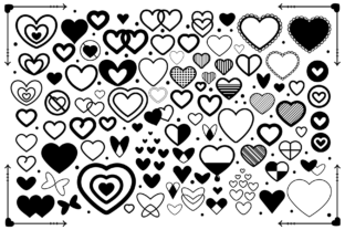Simple Doodle Heart Icon Set Graphic By Running With Foxes